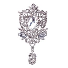 Wholesale big pendent - 5*10.5cm Large Silver Tone Luxury Waterdrop Pendent Big Crystal Wedding Elegant Brooch Fashion Costume Brooch For Women Banquet Top Quality