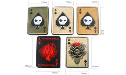 Wholesale Embroidery Patches Badges - Brand New Outdoor Clothing Cap Bag 3D Embroidery Badge Spades A Poker armband Death Card Rectangular Patch Military Boost morale armband