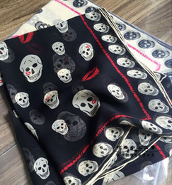 Wholesale Ladies Black Capes - 110*190cm Fashion Lips Skulls Print Lady Mulberry Silk Big Rectangle Scarf Printed 100% Pure Silk Pashmina Shawl Wraps Fashion Hijabs Capes