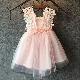 Wholesale White Beach Balls Wholesale - Lace Flower Princess Girl Tutu Dress Skirt Beach Backless Halter Dress Bowtie Sleeveless Vest Baby Kids Wedding Bridesmaid Vestido Clothing