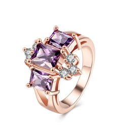 Wholesale Amethyst White Gold Engagement Ring - Wedding Ring Rose Gold Plated White Cubic Zirconia Gemstone Amethyst Crystal Christmas Gifts New Arrival Size 8 GPR415