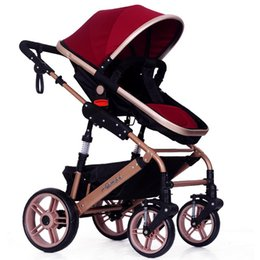 Wholesale Stroller Shock Absorbers - Sit and Lie Baby Stroller Folding Baby Carriage Good Shock Absorbers and High Chair 2 Pneumatic Wheel 2 EVA Wheel