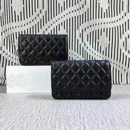 Wholesale New Handbag Bag Mini - New Fashion Women Woc Bag Rich bag Lambskin Handbags Black Shoulder Bag 33814