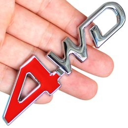 Wholesale 4x4 Chrome - Wholesale- Car Tail Rear Side Metal 4x4 RC Car 4WD Sticker 3D Chrome Badge Car Emblem Badge Decal Auto Decor Styling 4WD Red for SUV Trunk