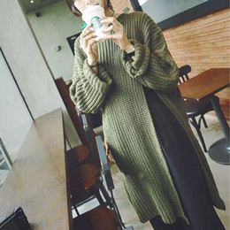 Wholesale Acrylic Tunic Sweaters - Wholesale-Women Sexy High Split Sweaters Pullovers 2016 Fashion Casual Loose O Neck Batwing Sleeve Long Knitted Tunic Tops Pull Femme
