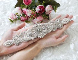 Wholesale Bridal Rhinestone Beaded Trim - Wholesale- Gorgeous Bridal Diamante Applique Rhinestone Applique Beaded Crystal Trim