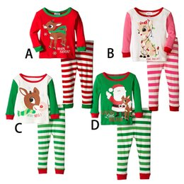 Wholesale striped shirt for kids - XMAS Christmas Infant Baby elk Deer shirt +Striped trousers sets Kids Christmas Suits Santa Claus Deer Sleepwear for 2-7T