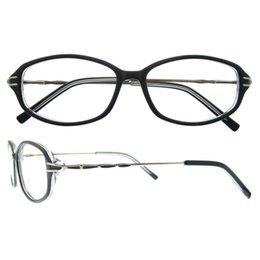 Wholesale Eyeglasses Temples - acetate oval full frame silver metal temple twist shape decoration fashion elegant women optical glasses frames