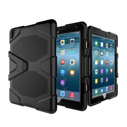 Wholesale Tablet Pc Gel Skin Cases - GLFEN Hybrid Silica gel + PC Shockproof Back Cover Stand Case for iPad Pro Mini1234 iPad 234 Air 2 Samsung Tab E Tablet