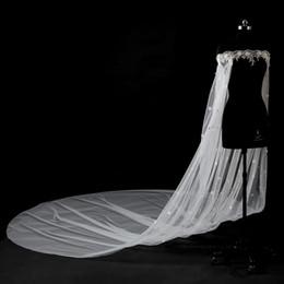 Wholesale Long Sleeves Accessories - Romantic White Lace Cloaks Mantle Wedding Fashion Wedding Accessories With Sleeves 5 Meters Long Small Flowers Bridal Bolero