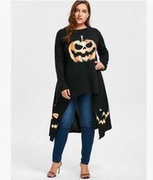 Wholesale Hooded Plus Size Dress - 2017 new Women Hooded dress fashion plus size Long sleeves Halloween pumpkin lantern printing Irregular skirt Loose long sweater