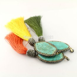 Wholesale Turquoise Tassel Necklace Jewelry - 5Pcs Pave Crystal Rhinestone Howlite Turquoise With Cords Tassel Charm Pendants Jewelry For Women
