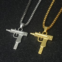 Wholesale Wholesale Gold Plated Charms - New Uzi Gold Chain Hip Hop Long Pendant Necklace Men Women Fashion Brand Gun Shape Pistol Pendant Maxi Necklace HIPHOP Jewelry
