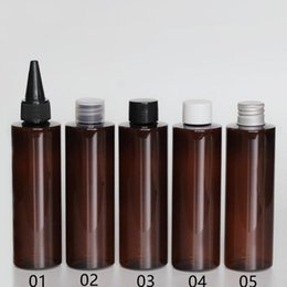 Wholesale Brown Pet Bottles - High quality 100ml brown PET plastic bottle with aluminum cap with insert, 100cc Transparent emulsion bottle F2017857