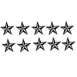 Wholesale Applique Badges Patches - 10PCS star badge embroidered patches for clothing iron-on fashion patch applique iron on patch sewing supplies accessories stickers on cloth