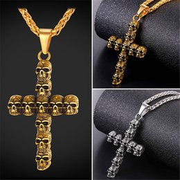 Wholesale Trendy Gold Chain Necklaces - U7 Trendy Skull Cross Crucifix Pendant Necklace Stainless Steel Gold Plated Rope Chain for Men Gift Christian Cross Jewelry GP2495