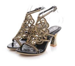 Wholesale Strappy Sandals Rhinestones - Fashion New Rhinestone Sandals Crystal High Heel Shoes Wedding Shoes Black Silver Gold Strappy Heels Sandales Femme 8cm