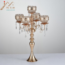 Wholesale Tall Cm - 63 cm Tall 5-arms Metal Gold Candelabras With Pendants Romantic Wedding Table Candle Holder Home Decoration 10 pcs lot