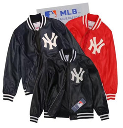 Wholesale Genuine Leather Jackets Women - MLB NY dry new men's fall and winter jacket leather Embroidery Slim fit section Genuine leather jacket young men and women casual jacket