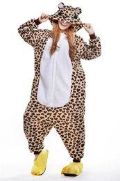 Wholesale Bear Suit Halloween Costume - Leopard Bear Kigurumi Pajamas Animal Suits Cosplay Outfit Halloween Costume Adult Garment Cartoon Jumpsuits Unisex Animal Sleepwear