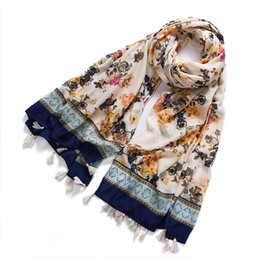 Wholesale Hijab Voile - Wholesale-From india Bohemian Style Summer Scarf Women Tassel Shawl Hijab Wrap bufandas cachecol feminino Voile Scarf 957