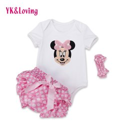Wholesale Newborn Boy Bloomers - Wholesale- Polka Dot baby Rompers Outfits Sets 2016 Summer Style Cotton Minnie Mouse Jumpsuit Ruffles Bloomer Newborn Baby Girl Clothes