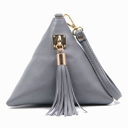 Wholesale Leather Fringe Purse Handbag - Wholesale- Mini Tassel Clutch Black Leather Bag Designer Purse Famous Brand Women Fringe Handbag Evening Bags Bolsa Feminina tas F40-560