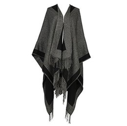 Wholesale Womens Knitted Scarves - 2017 New Womens Tassel Poncho Two-sided Shawl Ladies Knitted Wrap Cape Scarf Blanket Warm For Winter Women's Scarves and Wraps