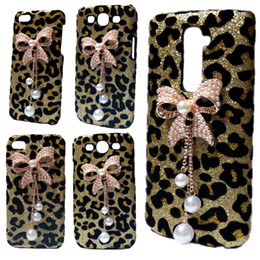 Wholesale 3d Case Iphone Leopard - 3D Bling Gold Leopard Pearls Rhinestones Bow Hard Back Case Cover for iPhone 5 5S 6 6S 6S Plus LG G2 G3 G5 K7 G Stylo G4 Stylus G4 Note