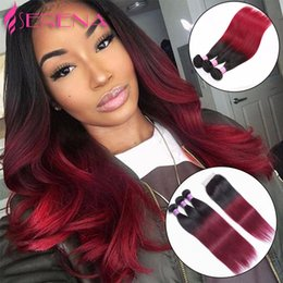 two toned straight hair Promo Codes - Mink Brazilian Virgin Hair Straight Hair Weaves With Closure 1b 99J Burgundy Ombre Lace Closure With Bundles Ombre Two Tone Human Hair Weave
