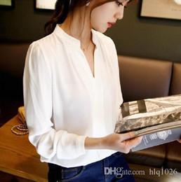 2019 camisas de chiffon de escritório para mulheres 2016 Outono Mulheres Camisa Chiffon Blusa Das Senhoras Elegantes com Decote Em V Camisas de Manga Longa Escritório Feminino Camisa Frete Grátis camisas de chiffon de escritório para mulheres barato