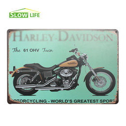 "Wholesale Hd Twin - The 61 OHV Twin HD Motorcycle Retro Vintage Tin Sign 8""x12"" Metal AD Sign Bar Pub Garage Wall Decor Tin Plaque Metal Art Poster 20170408#"