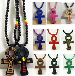 Wholesale Wood Crosses Necklaces - ANKH Egyptian Power of Life Cross Good Wood Hip Hop Goodwood Fashion Necklace