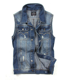 Wholesale Ripped Vest Top - New Fashion Mens Denim Vest Vintage Sleeveless washed jeans waistcoat Man Cowboy ripped Jacket Tank Top M L XL 2XL Free shipping