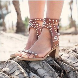 Wholesale Tan Heels For Women - Fashion Women gladiator buckle strap Sandals Isabel Shoes silver studs rhinestone block Heels Zapatos Majur vintage style shoes for women