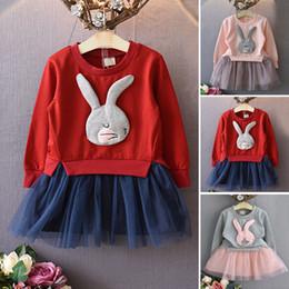 conejito camisa niños Rebajas Venta al por mayor- 2016 otoño lindo conejo niñas vestido niños niños niña conejito suéter camisas gasa mini vestidos ropa de bebé