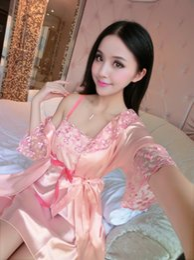 Wholesale Sexy Night Robe Set - Wholesale- New Style Fashion Sexy Women Sleep Wear Night Dress Set Ladies Sleepwear Silk Nightdress Pink Bath Robe Nightgown