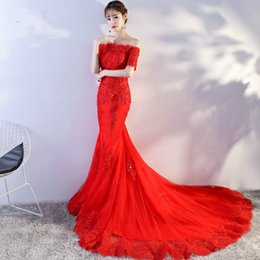 Wholesale Silk Organza Lace Wedding Dress - 2017 Red Elegant Lace Capped Boat Neck Short Sleeves Lace Up Back Mermaid Court Train Sequines Embroidery Wedding Dress