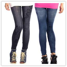 Wholesale Cheap Leggings Punk - new punk style elastic black blue faux jeans leggings women fitness legging nine skinny printed cheap fleece jeggings free shipping