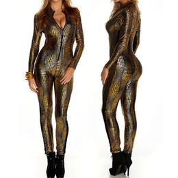 Wholesale Front Zip Catsuit - Wholesale- 2016 Snake Skin Bodycon Jumpsuit Long Sleeve Front Zip Golden Black Grey Bodysuit Ladies Playsuits Faux Leather Catsuit Women