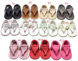 Wholesale Wholesale Baby Flip Flops - 2017 New Baby PU summer flip flops sandals infant First Walkers newborn baby Walkers shoes 11 colors C2005