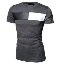 Wholesale Leather Shirts Wholesale - Wholesale- 2016 New Fashion Brand Men Clothes Solid Color Slim Fit T Shirt Men Cotton Patchwork leather
