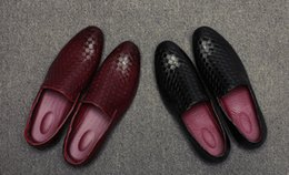 Wholesale Spike Heel Wedges - Black Red Spikes Rhinestones Glitter Men Loafers Smoking Slipper Casual Shoes Wedding Bottom Weaving Dress Men's Flats Genuine Leather 37-44