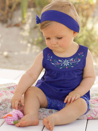 Wholesale Girls Fashion Hair Pieces Wholesale - Baby sets fashion babies floral embroidery tank top+floral printed bloomers+bows hair band 3pc clothing sets baby girl summer clothing T4228