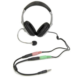 Wholesale Pc Composite Rca Adapter - Free DHL 3.5mm 4 Pole to Mic and Earphones Adapter Cable FOR Computer PC Headphone factory direct