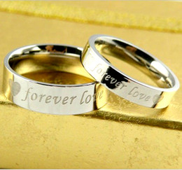 Wholesale Mix Silver Jewerly - Wholesale 50pcs Lots Fashion 316L Titanium Steel Wedding Rings Forever Love Stainless Steel Couple Ring Men Women Engagement Jewerly Rings