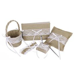Wholesale Party Garter - Wholesale-5pcs Rustic Burlap And Lace Wedding Guest Book Pen Garter Pillow Set