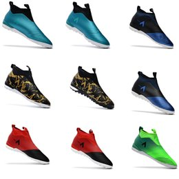 Wholesale Gold Indoor Soccer Shoes - Original ACE Tango 17+ Purecontrol TF indoor soccer cleats turf IN soccer shoes 2017 ACE Football boots Dragon Laceless boots Gold Mens Red