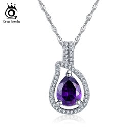 Wholesale Pear Pendant Necklace - Fashion Female Necklace with Pear Cut Big Purple Cubic Zircon Crystal Pendant Jewelry Necklace for Ladies Party ON82