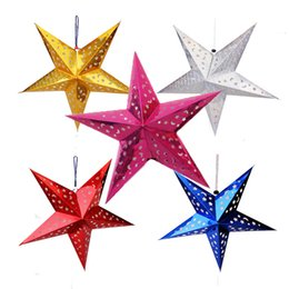 Wholesale Christmas Decoration Paper Stars - Hot Selling Christmas Paper Star Christmas Three-dimensional Laser Five-pointed Star Santa Xmas Decorations 2016 newest